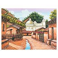 'San Juan Comalapa' - Signed Folk Art Painting of a Guatemalan Town