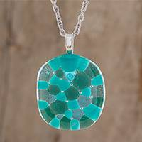 Glass pendant necklace, 'Sweet Shapes in Green' (Costa Rica)