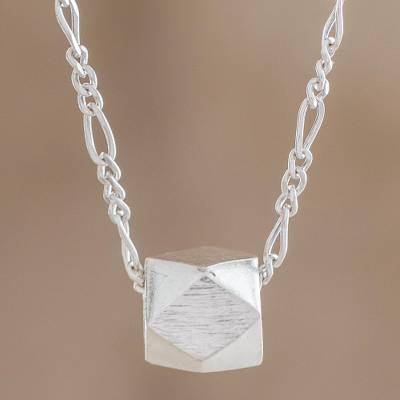 Sterling silver pendant necklace, 'Geometric Gleam' - Geometric Sterling Silver Pendant Necklace from Guatemala