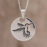 Sterling silver pendant necklace, 'Hummingbird Medallion' - Sterling Silver Hummingbird Pendant Necklace from Guatemala