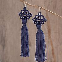 Hand-tatted dangle earrings, 'Antique Details in Indigo' - Hand-Tatted Indigo Dangle Earrings from Guatemala