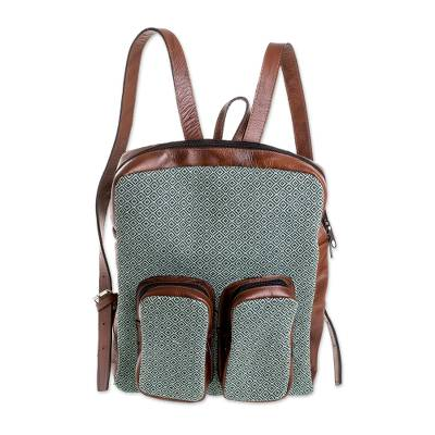 Leather Accent Cotton Backpack in Mint from Guatemala