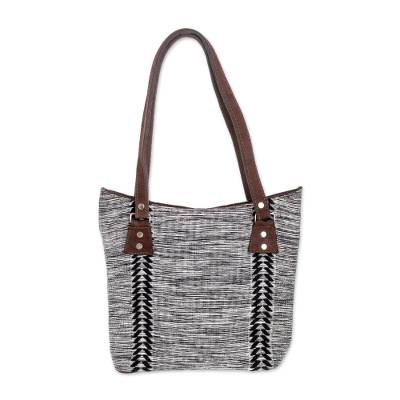 Black and White Leather Accent Cotton Tote from guatemala