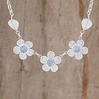 Jade pendant necklace, 'Jade Flowers' (Guatemala)