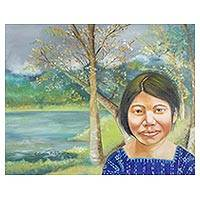 'In the Meadow' - Signed Realist Portrait Landscape Painting from Guatemala