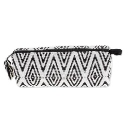 Diamond Motif Cotton Clutch Handbag from Guatemala