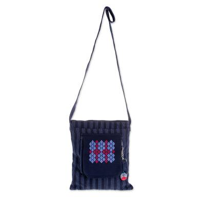 Cotton Shoulder Bag in Navy and Sky Blue from Guatemala