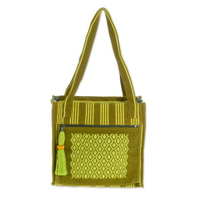 Cotton Shoulder Bag in Avocado and Chartreuse from Guatemala