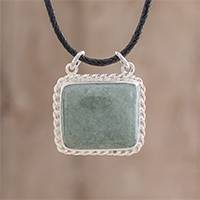 Jade pendant necklace, 'Colonial Art in Apple Green' - Rectangular Jade Pendant Necklace in Apple Green