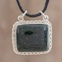 Jade pendant necklace, 'Colonial Art in Dark Green' - Rectangular Jade Pendant Necklace in Dark Green