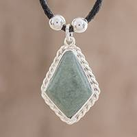 Jade pendant necklace, 'Colonial Craft in Apple Green' - Jade Rhombus Pendant Necklace in Apple Green from Guatemala