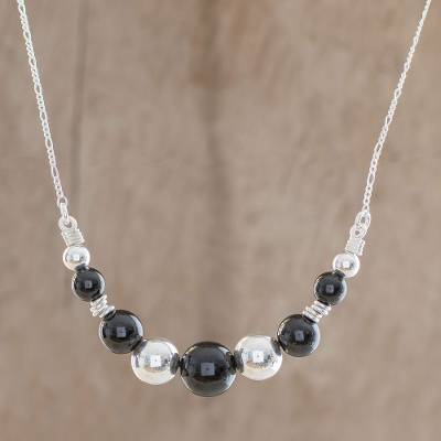 Jade beaded necklace, 'Black Constellation' - Black Jade Pendant Necklace from Guatemala