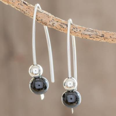 Jade drop earrings, 'Night of the Moon' - Black Jade Drop Earrings Crafted in Guatemala