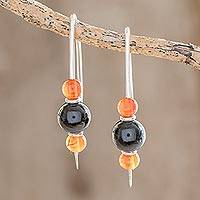 Jade and agate drop earrings, 'Black Mayan Fire' - Black Jade and Agate Drop Earrings from Guatemala