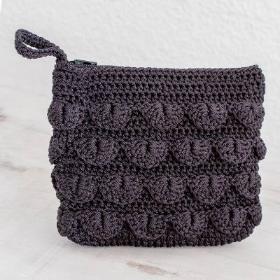 Crocheted cosmetic bag, 'Summer Frill in Black' - Hand-Crocheted Cosmetic Bag in Black from Guatemala