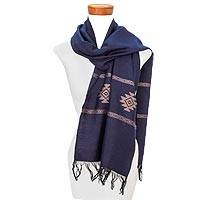 Cotton blend scarf, 'Fret Chic in Blue' - Blue and Beige Stepped-Fret Rhombus Motif Cotton Blend Scarf