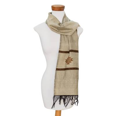 Cotton blend scarf, Fret Chic in Antique White