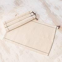 Cotton placemats, 'Classic Beauty' (set of 4) - Handwoven Cotton Placemats in Eggshell (Set of 4)