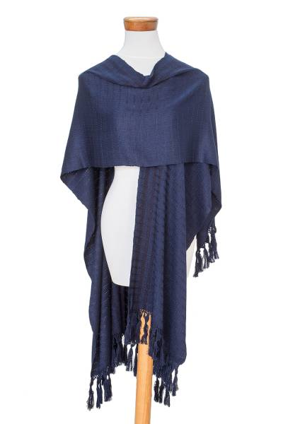 Handwoven Midnight Blue with Black Stripes Rayon Ruana