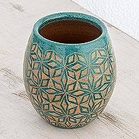 Ceramic decorative vase, 'Turquoise Geometry' - Geometric Ceramic Decorative Vase from Nicaragua
