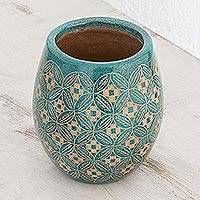Ceramic decorative vase, 'Turquoise Leaves' - Leaf Motif Ceramic Decorative Vase from Nicaragua