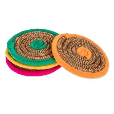 Multicolored Pine Needle Coasters from Nicaragua (Set of 4)