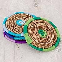 Pine needle coasters,