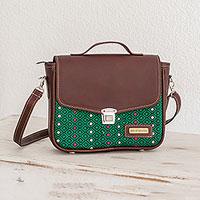 Leather accent cotton shoulder bag,