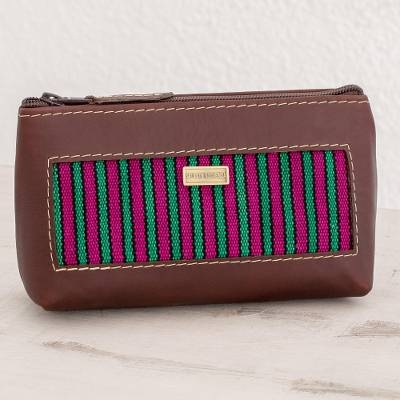 Cotton accent leather cosmetic bag, 'San Antonio Stripes' - Striped Leather Accent Cotton Cosmetic Bag from Guatemala