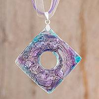 Recycled CD pendant necklace, 'Purple Mystic' - Recycled CD Pendant Necklace in Purple from Guatemala