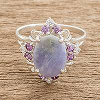 Jade cocktail ring, 'Lilac Oval' - Oval Lilac Jade Cocktail Ring from Guatemala
