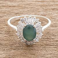 Jade cocktail ring, 'Verdant Corona' - Oval Green Jade Cocktail Ring from Guatemala