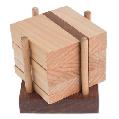Light Brown Wood Coasters and Holder (Set of 6)
