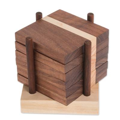 Dark Brown Wood Coasters and Holder (Set of 6)