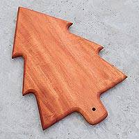 Wood cutting board, 'Christmas Pine' - Pine Tree Caoba Wood Cutting Board from Guatemala