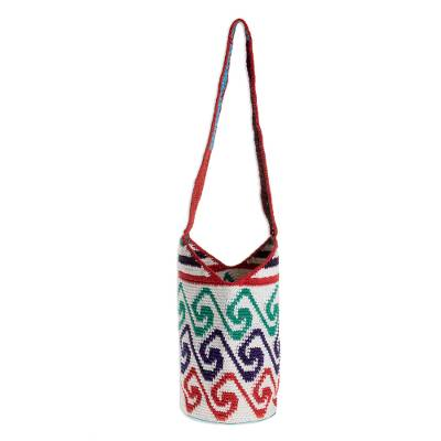 Cotton Bucket Bag with Colorful Wave Motifs from Guatemala