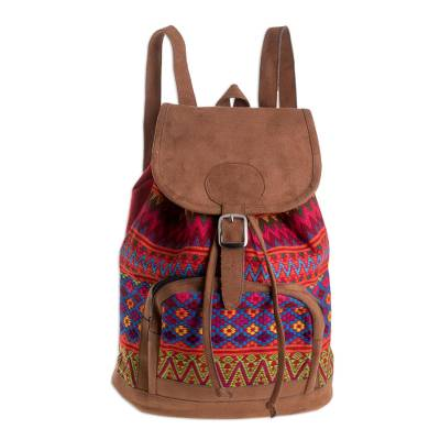 Zigzag Motif Handwoven Cotton Backpack from Guatemala