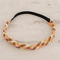 Glass bead headband, 'Beautiful Braid' - Handcrafted Pink and Gold Braided Glass Bead Headband