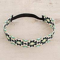 Glass bead headband, 'Fret Flowers' - Aqua and Black Geometric Motif Glass Bead Headband