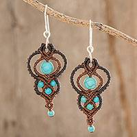 Macrame dangle earrings, 'Distant Sands' - Recon. Turquoise Macrame Dangle Earrings from El Salvador