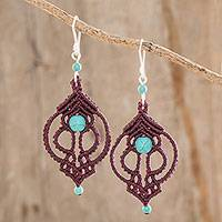 Macrame dangle earrings, 'Burgundy Charm' - Recon. Turquoise Macrame Dangle Earrings in Burgundy
