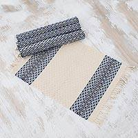 Cotton placemats, 'Highland Flowers' (set of 4) - Set of Four Handwoven Cotton Placemats from Guatemala