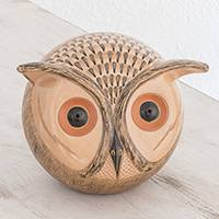 Ceramic sculpture, 'Beautiful Owl' - Handmade Ceramic Owl Sculpture from Nicaragua