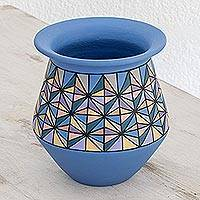 Ceramic decorative vase, 'Beautiful Geometry' - Hand-Painted Geometric Ceramic Decorative Vase in Blue