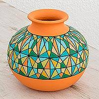 Ceramic decorative vase, 'Sunrise Geometry' - Hand-Painted Ceramic Decorative Vase in Orange