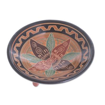Handcrafted Floral Ceramic Decorative Footed Bowl
