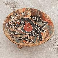 Ceramic decorative footed bowl, 'Toucan Delight' - Handcrafted Toucan Ceramic Decorative Footed Bowl