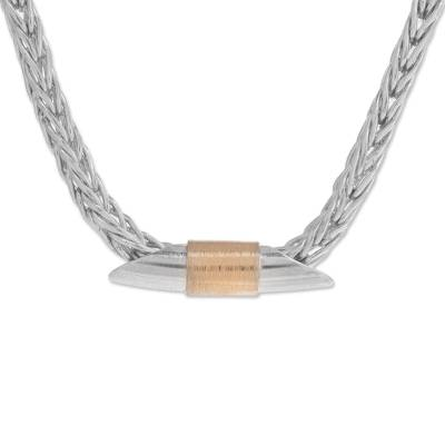 22k Gold Accent Sterling Silver Pendant Necklace