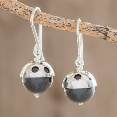 Onyx dangle earrings, 'Modern Holes' - Modern Circular Onyx Dangle Earrings from Nicaragua