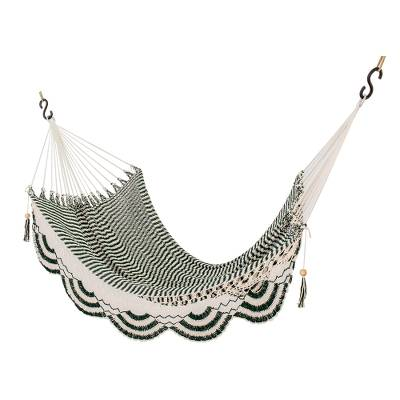 Handwoven Cotton Rope Hammock in Forest Green and Eggshell